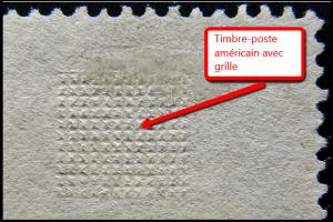 Timbre-poste américain embossé avec une grille