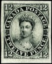 Timbre du Canada-1851 12d noir