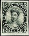 Un spécimen du timbre du Canada 1851-12d noir