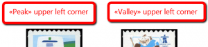 «Peak» or «valley» upper left corner types