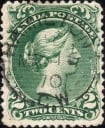 Canada stamp #32-Green 2¢ Large Queen on laid paper Image courtesy of Vincent Graves Greene Philatelic Research Foundation