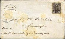 Canada Stamp #16a on cover dated 1859