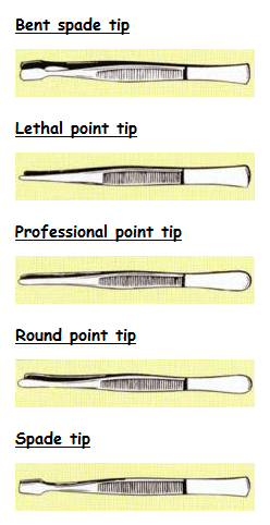 Different styles of stamp tongs