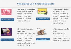 Choisissez vos timbres gratuits!