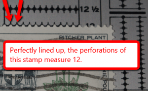 Line your stamp up against your perforation gauge